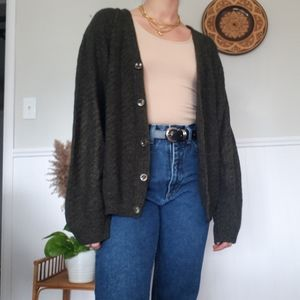 Vintage green knit cardigan with elbow patches